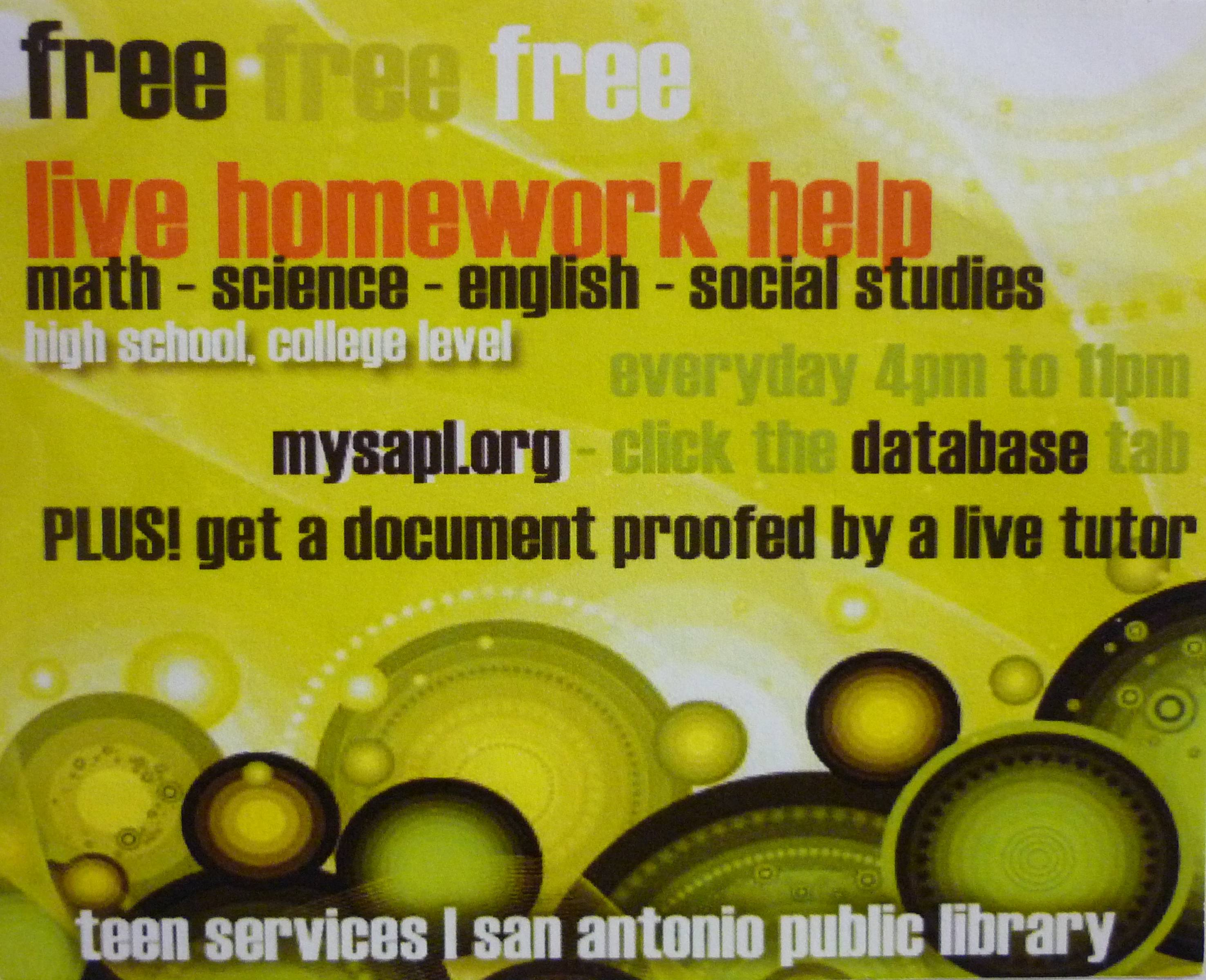 Live homework help library branch