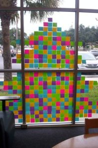 This Christmas tree display was very fun to do. We used 5 different colors (purple, blue, yellow, green, pink) of Post-it notes and arranged the colors in various patterns.