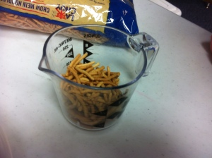 Next we added chow mein noodles. . .