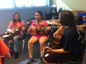 We had electric and acoustic guitars for everyone to try out.