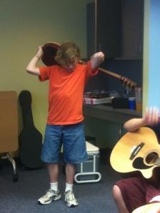 Robert channels his inner rock star.