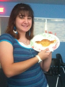 Sarah made a Yoda pancake