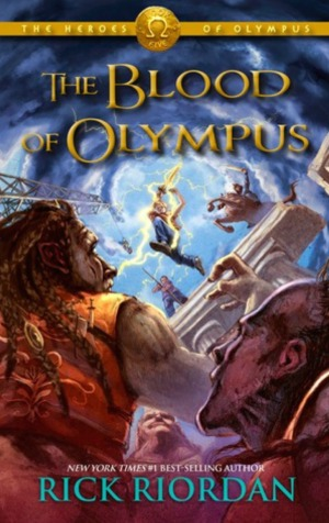 """The Blood of Olympus"" by Rick Riordan book cover"