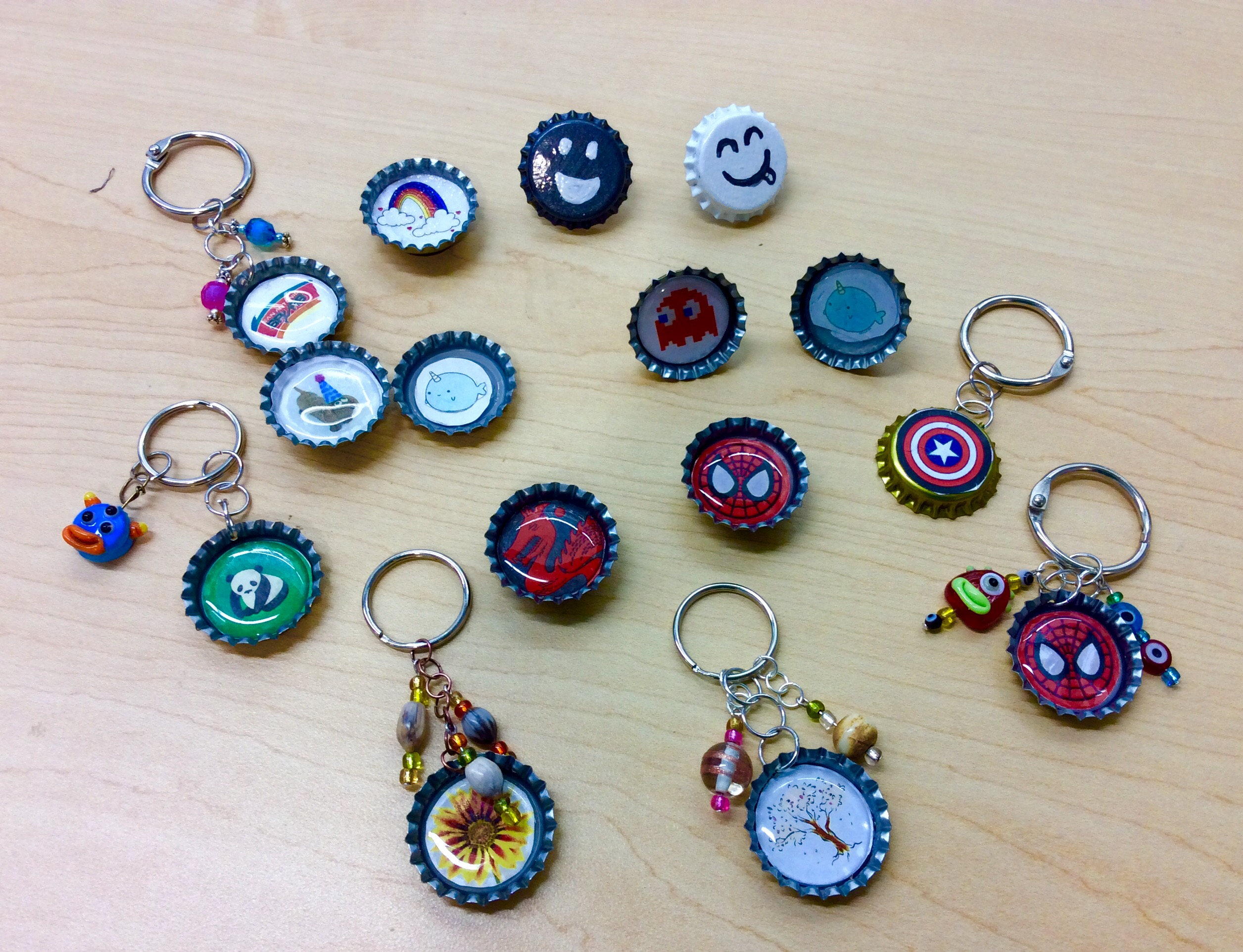 Bottle cap crafts parman teen time san antonio public for How to make bottle cap crafts